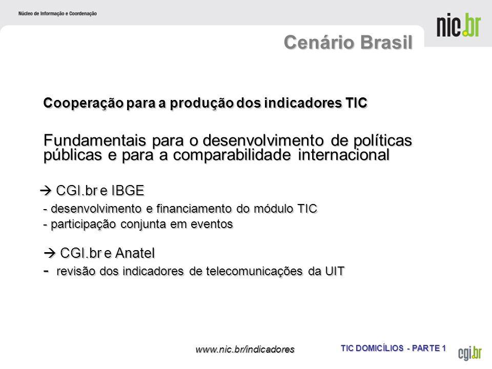 TIC DOMICÍLIOS - PARTE 1 www.nic.br/indicadores Cooperação para a produção dos indicadores TIC Fundamentais para o desenvolvimento de políticas públic