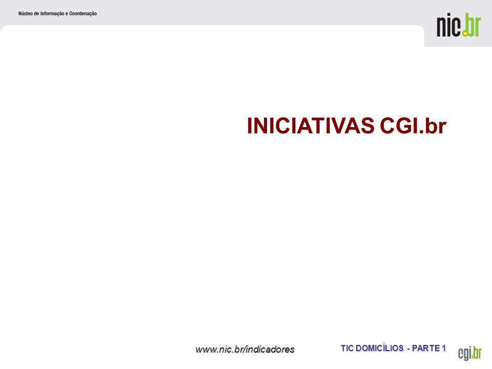 TIC DOMICÍLIOS - PARTE 1 www.nic.br/indicadores INICIATIVAS CGI.br
