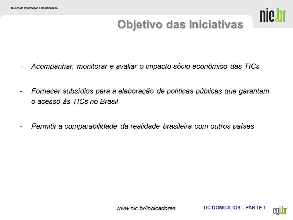 TIC DOMICÍLIOS - PARTE 1 www.nic.br/indicadores Objetivo das Iniciativas -Acompanhar, monitorar e avaliar o impacto sócio-econômico das TICs -Fornecer
