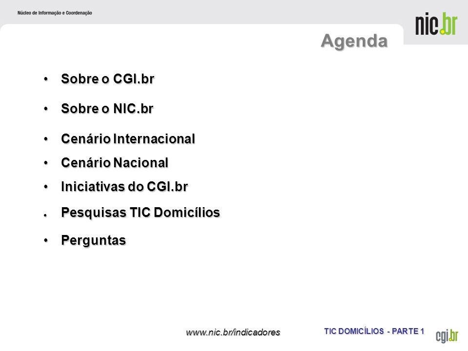 TIC DOMICÍLIOS - PARTE 1 www.nic.br/indicadores Agenda Sobre o CGI.brSobre o CGI.br Sobre o NIC.brSobre o NIC.br Cenário InternacionalCenário Internac