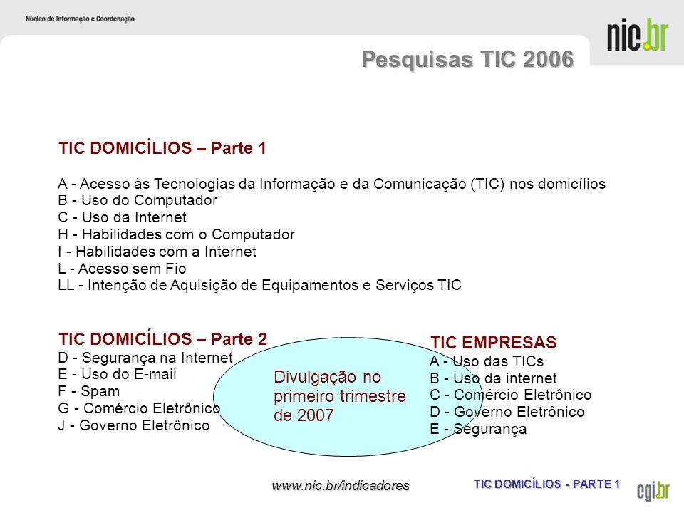 TIC DOMICÍLIOS - PARTE 1 www.nic.br/indicadores TIC DOMICÍLIOS – Parte 1 A - Acesso às Tecnologias da Informação e da Comunicação (TIC) nos domicílios