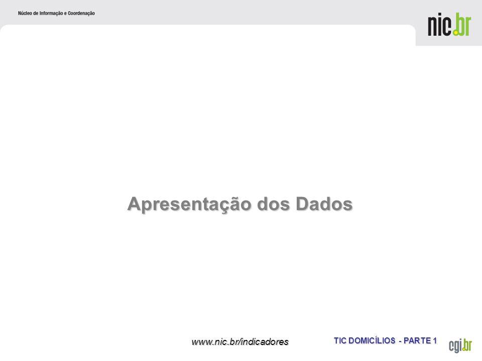 TIC DOMICÍLIOS - PARTE 1 www.nic.br/indicadores Apresentação dos Dados