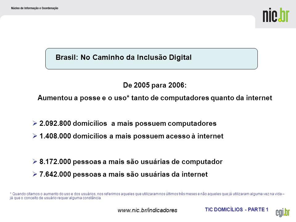 TIC DOMICÍLIOS - PARTE 1 www.nic.br/indicadores Brasil: No Caminho da Inclusão Digital De 2005 para 2006: Aumentou a posse e o uso* tanto de computado