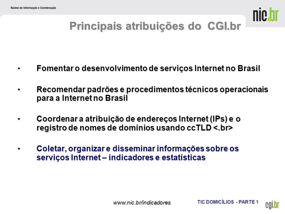 TIC DOMICÍLIOS - PARTE 1 www.nic.br/indicadores Fomentar o desenvolvimento de serviços Internet no Brasil Fomentar o desenvolvimento de serviços Inter
