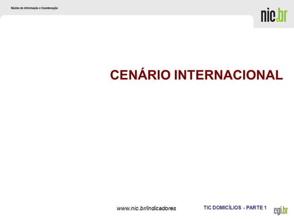 TIC DOMICÍLIOS - PARTE 1 www.nic.br/indicadores CENÁRIO INTERNACIONAL