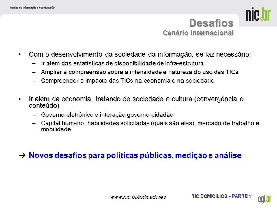 TIC DOMICÍLIOS - PARTE 1 www.nic.br/indicadores Com o desenvolvimento da sociedade da informação, se faz necessário:Com o desenvolvimento da sociedade