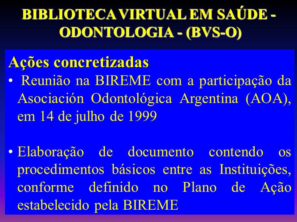 Ações concretizadas Reunião na BIREME com a participação da Asociación Odontológica Argentina (AOA), em 14 de julho de 1999 Elaboração de documento co