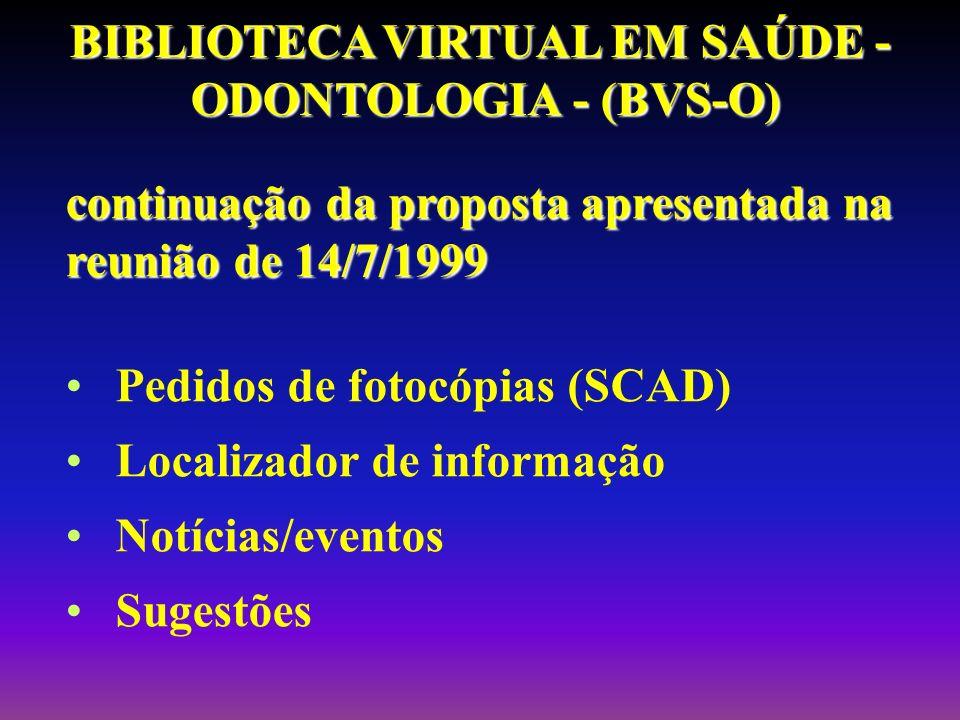 continuação da proposta apresentada na reunião de 14/7/1999 Pedidos de fotocópias (SCAD) Localizador de informação Notícias/eventos Sugestões BIBLIOTE