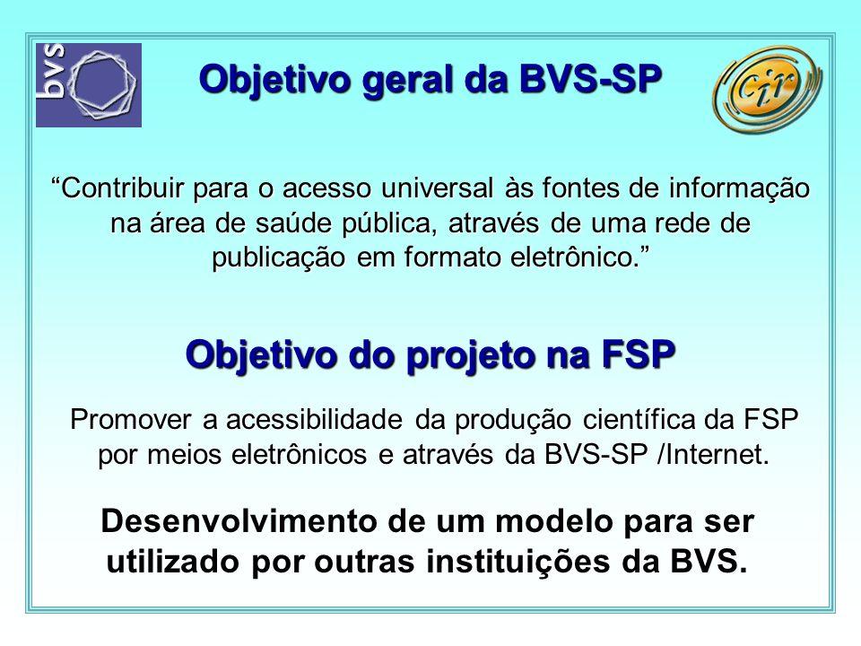 Objetivo geral da BVS-SP Contribuir para o acesso universal às fontes de informação na área de saúde pública, através de uma rede de publicação em for