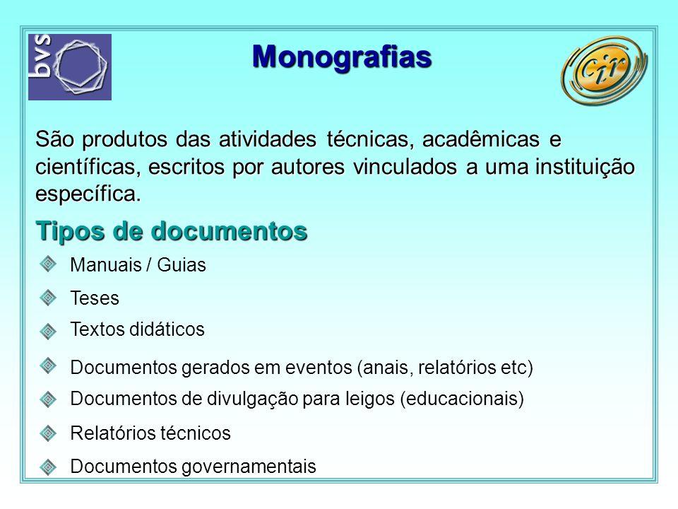 Monografias São produtos das atividades técnicas, acadêmicas e científicas, escritos por autores vinculados a uma instituição específica. Tipos de doc