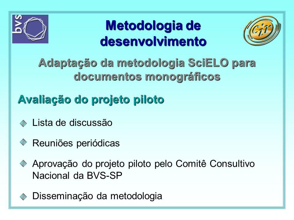 Metodologia de desenvolvimento Adaptação da metodologia SciELO para documentos monográficos Avaliação do projeto piloto Disseminação da metodologia Ap