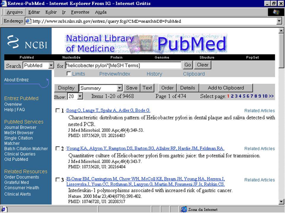 MEDLINE - 3.093 revistas EMBASE - 3.500 revistas LILACS - 670 revistas Dados de janeiro de 1997. 30.000 revistas biomédicas 7%/ano Avalanche de inform