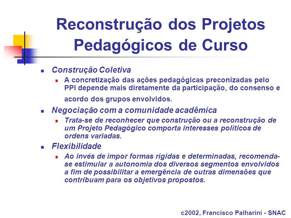 Reconstrução dos Projetos Pedagógicos de Curso Construção Coletiva A concretização das ações pedagógicas preconizadas pelo PPI depende mais diretament