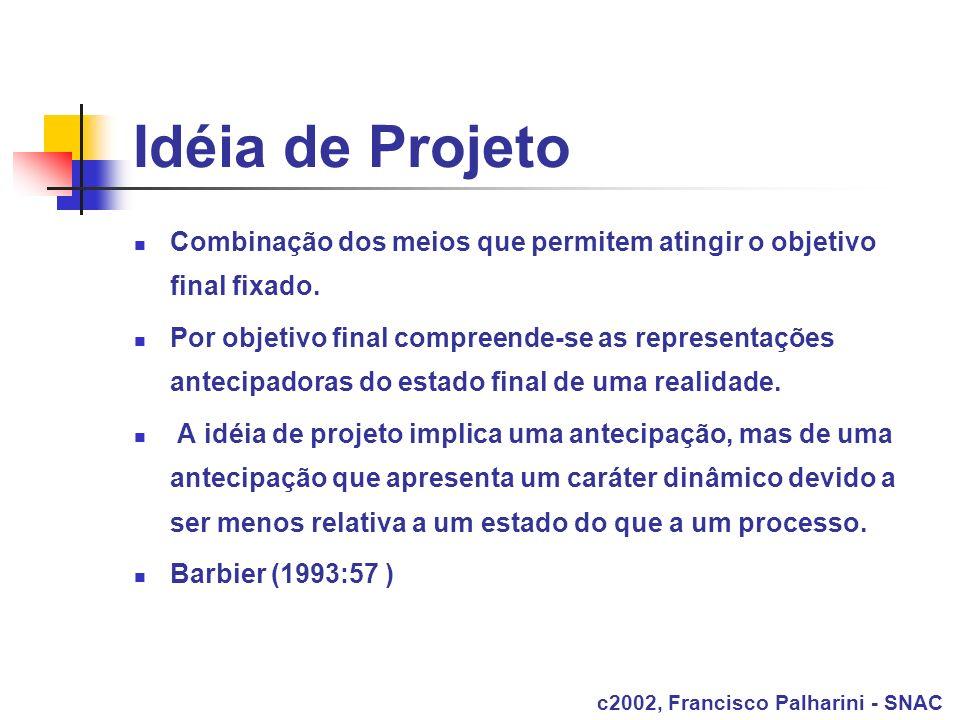 Idéia de Projeto Combinação dos meios que permitem atingir o objetivo final fixado. Por objetivo final compreende-se as representações antecipadoras d