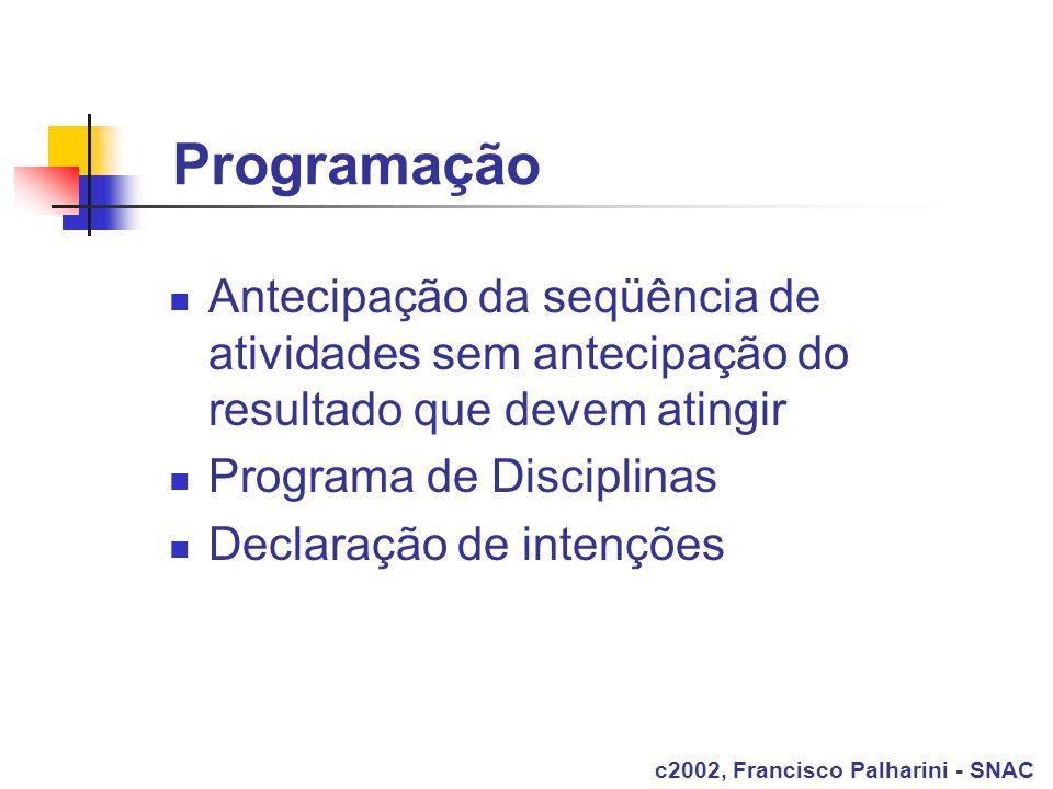 Programação Antecipação da seqüência de atividades sem antecipação do resultado que devem atingir Programa de Disciplinas Declaração de intenções c200