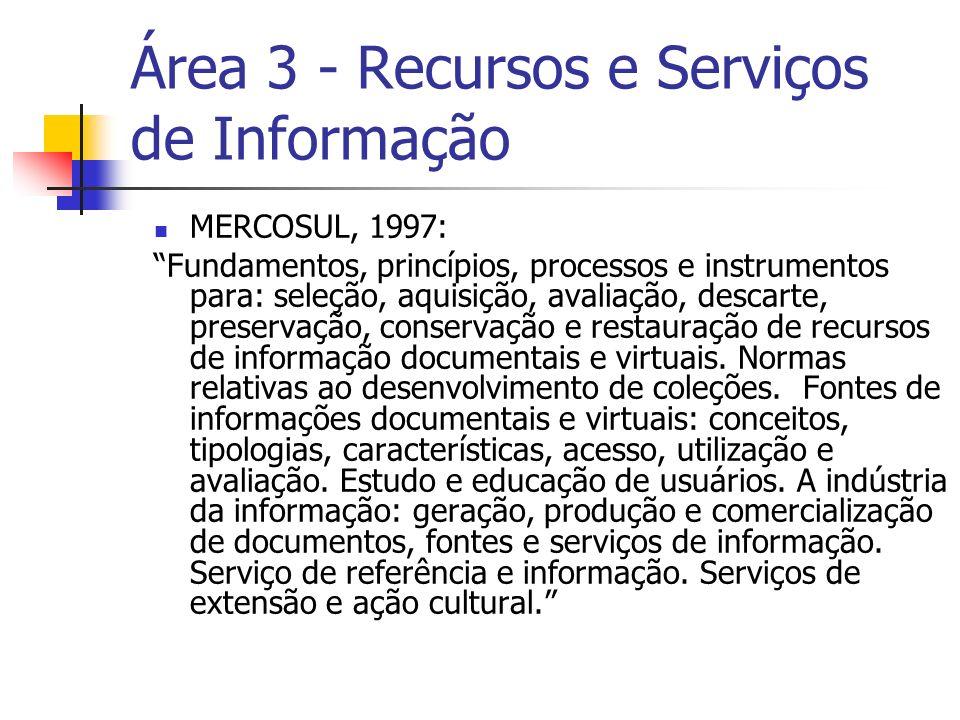 Área 3 - Recursos e Serviços de Informação MERCOSUL, 1997: Fundamentos, princípios, processos e instrumentos para: seleção, aquisição, avaliação, descarte, preservação, conservação e restauração de recursos de informação documentais e virtuais.