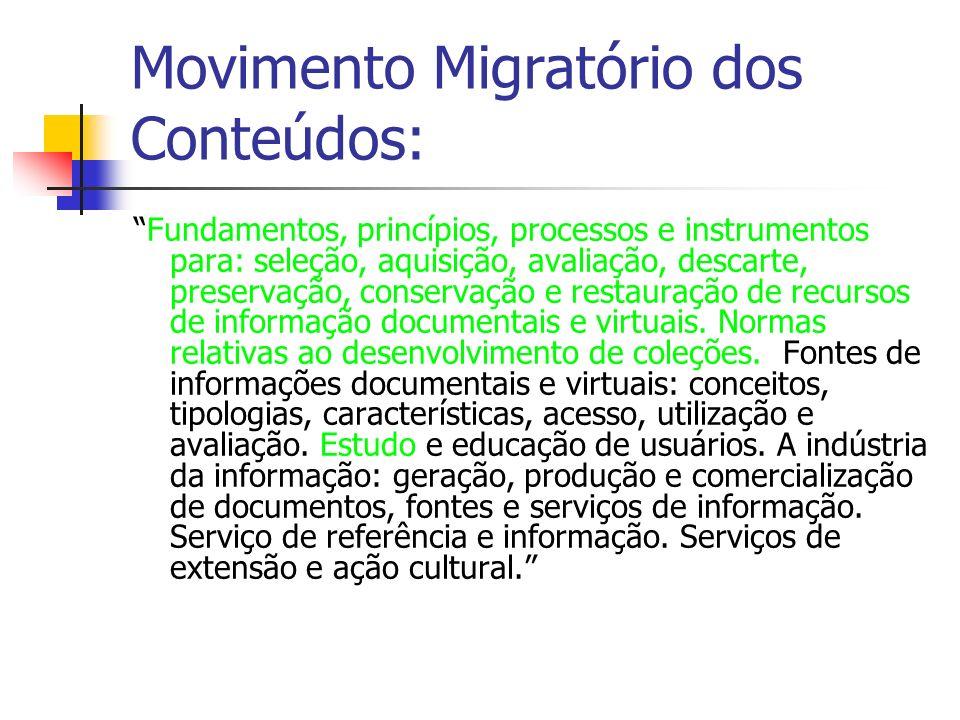Movimento Migratório dos Conteúdos: Fundamentos, princípios, processos e instrumentos para: seleção, aquisição, avaliação, descarte, preservação, conservação e restauração de recursos de informação documentais e virtuais.