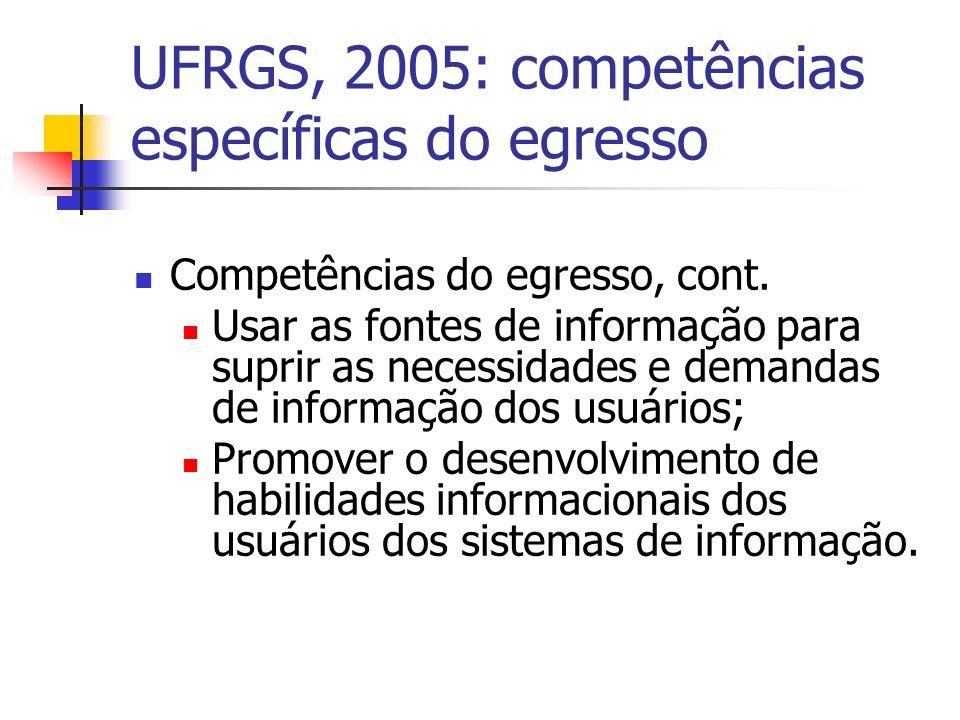 UFRGS, 2005: competências específicas do egresso Competências do egresso, cont.