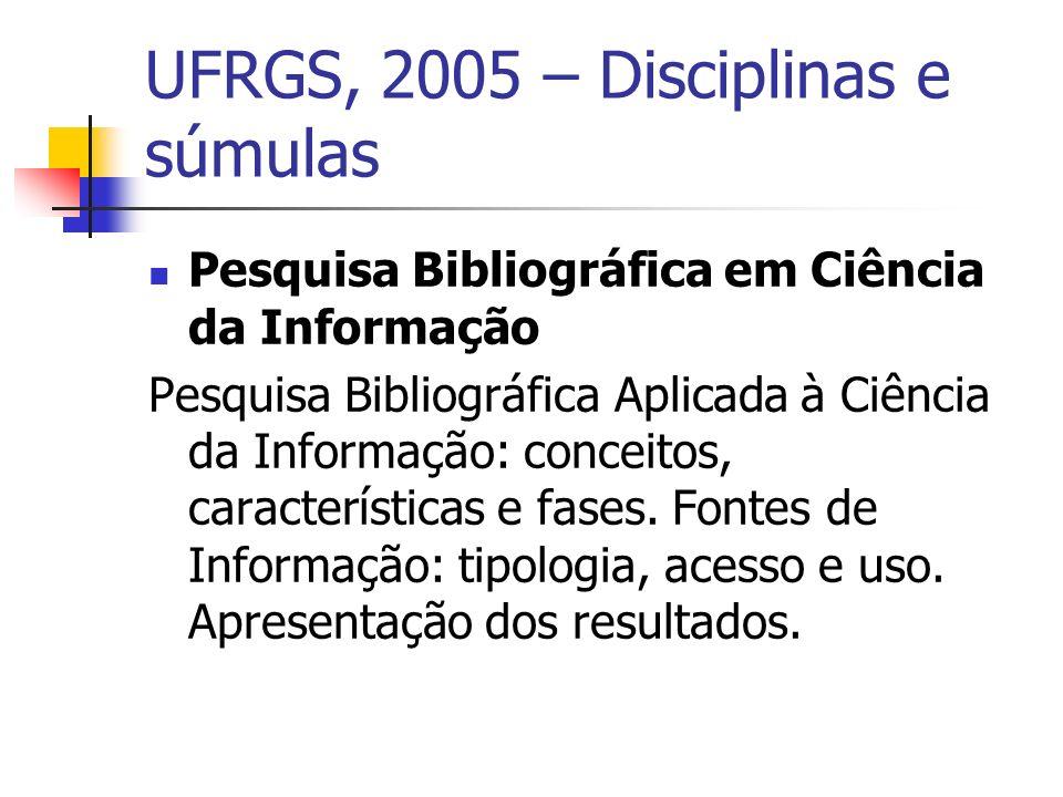 UFRGS, 2005 – Disciplinas e súmulas Pesquisa Bibliográfica em Ciência da Informação Pesquisa Bibliográfica Aplicada à Ciência da Informação: conceitos, características e fases.