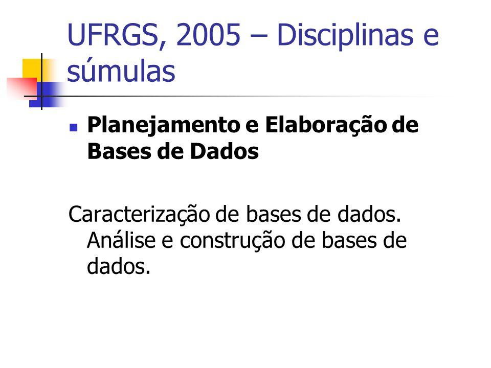 UFRGS, 2005 – Disciplinas e súmulas Planejamento e Elaboração de Bases de Dados Caracterização de bases de dados.