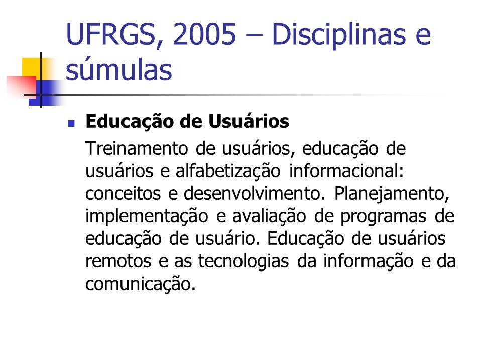 UFRGS, 2005 – Disciplinas e súmulas Educação de Usuários Treinamento de usuários, educação de usuários e alfabetização informacional: conceitos e desenvolvimento.