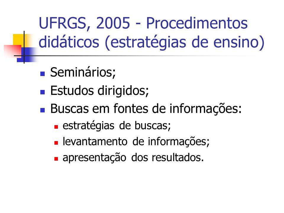 UFRGS, 2005 - Procedimentos didáticos (estratégias de ensino) Seminários; Estudos dirigidos; Buscas em fontes de informações: estratégias de buscas; levantamento de informações; apresentação dos resultados.