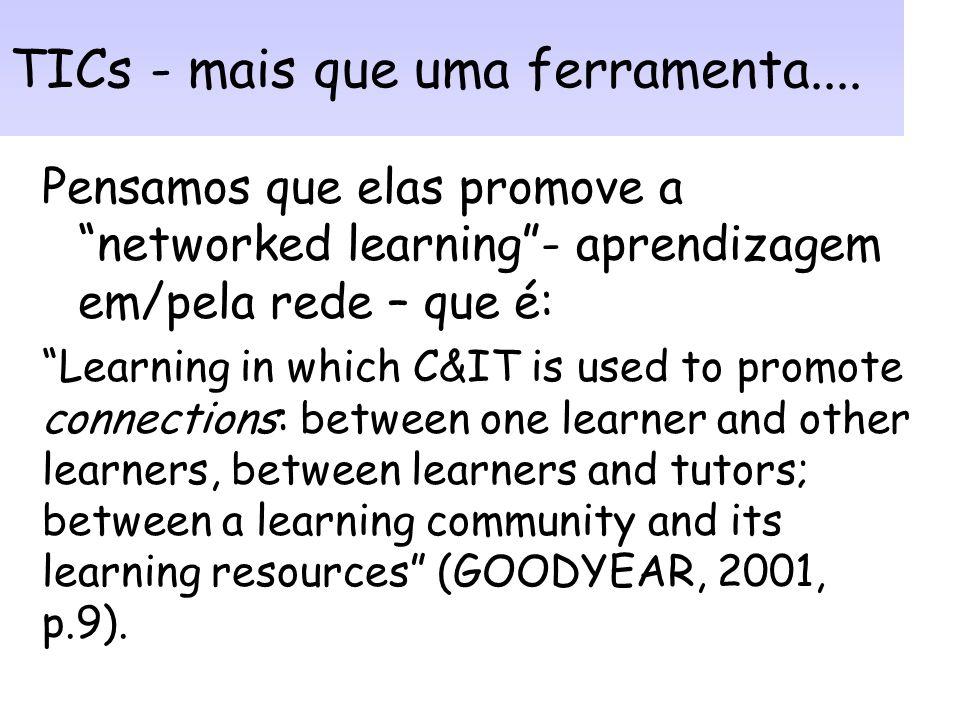 Conceito TICs: Englobam (OLIVEIRA, 2003, p.176): –RH – usuários finais e especialistas em TICs; –Hardware – máquinas e mídia –Software – programas e a