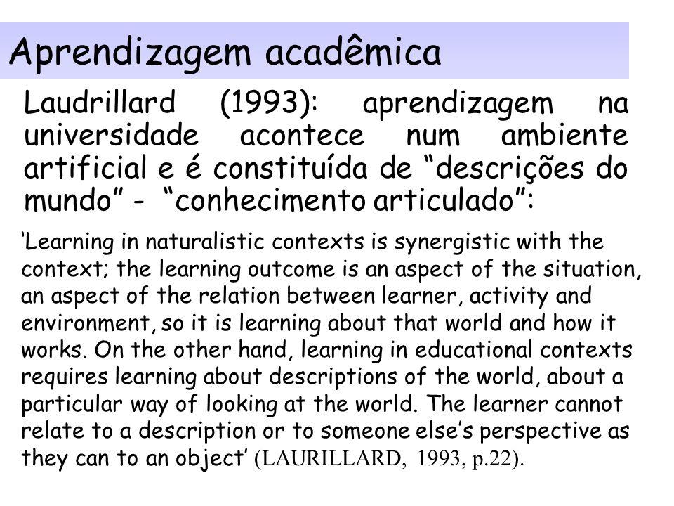 Componentes de aprendizagem em rede (lado direito -2): Resultados do processo de ensino aprendizagem: - clareza sobre resultado almejado implica em cl