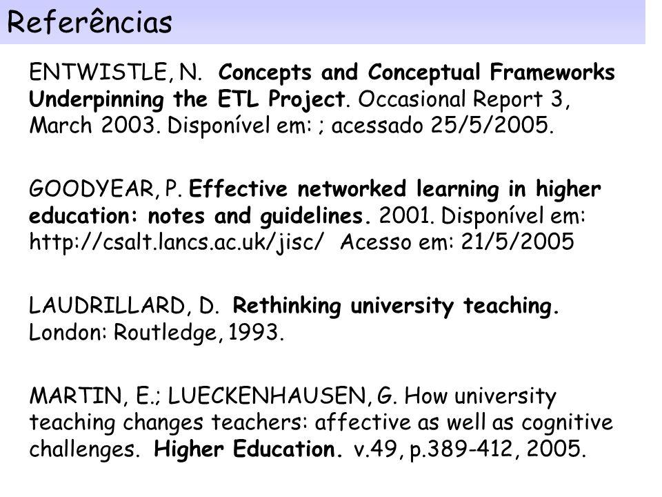 Conclusão: Pois em muitas universidades, os motivos principais para incorporar as TICs nos processos de ensino- aprendizagem têm sido custos, acesso e