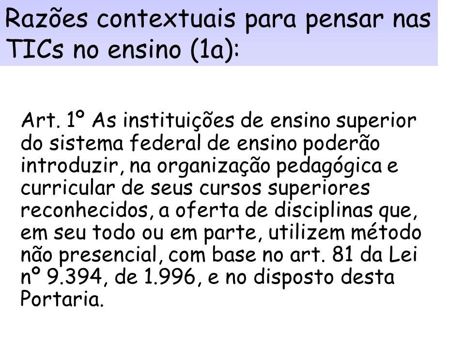 Razões contextuais para pensar nas TICs no ensino (1): 1. Flexbilização na oferta de cursos e disciplinas nas IES: Portaria nº 2.253 de 18 de outubro