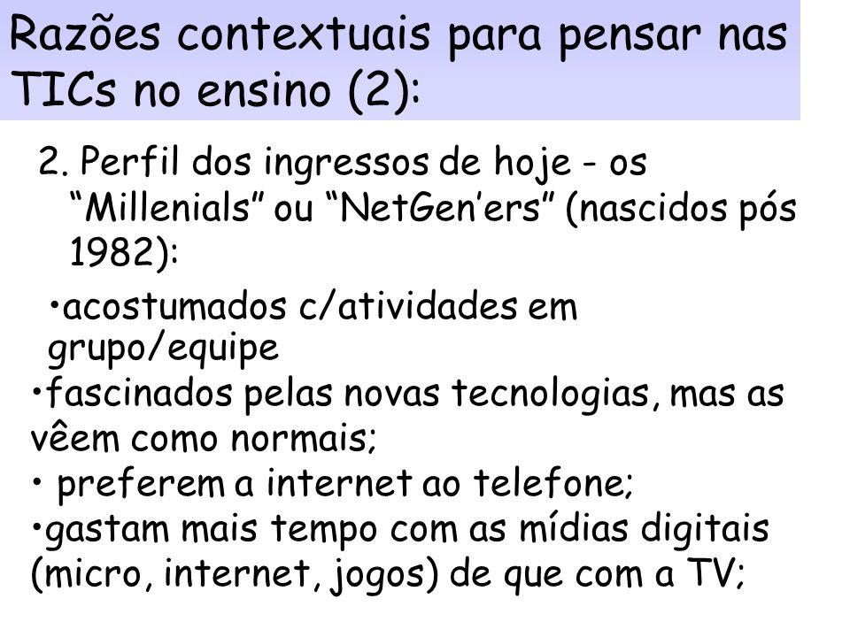 Razões contextuais para pensar nas TICs no ensino (1a): Art. 1º As instituições de ensino superior do sistema federal de ensino poderão introduzir, na