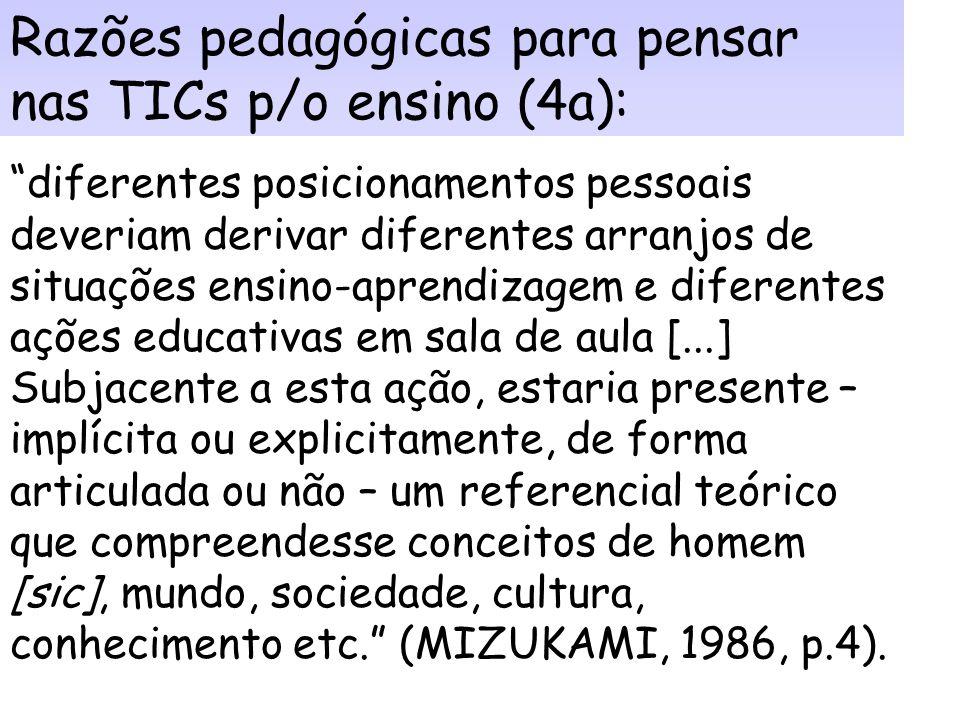 Razões para pensar nas TICs no ensino (4): 4. Principalmente: porque faz os docentes refletirem sobre suas práticas pedagógicas - sobre como as pessoa