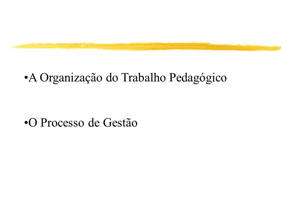 A Organização do Trabalho Pedagógico O Processo de Gestão