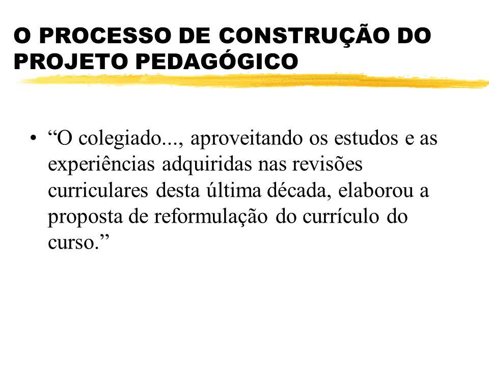 O PROCESSO DE CONSTRUÇÃO DO PROJETO PEDAGÓGICO O colegiado..., aproveitando os estudos e as experiências adquiridas nas revisões curriculares desta última década, elaborou a proposta de reformulação do currículo do curso.