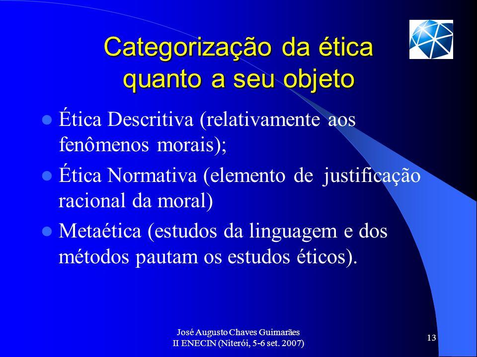 José Augusto Chaves Guimarães II ENECIN (Niterói, 5-6 set. 2007) 13 Categorização da ética quanto a seu objeto Ética Descritiva (relativamente aos fen