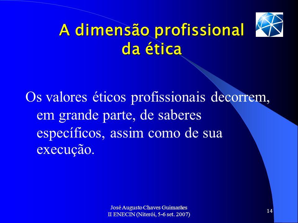 José Augusto Chaves Guimarães II ENECIN (Niterói, 5-6 set. 2007) 14 A dimensão profissional da ética Os valores éticos profissionais decorrem, em gran