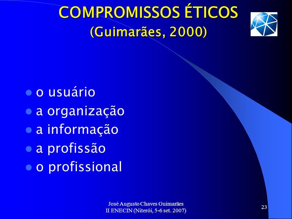 José Augusto Chaves Guimarães II ENECIN (Niterói, 5-6 set. 2007) 23 COMPROMISSOS ÉTICOS (Guimarães, 2000) o usuário a organização a informação a profi