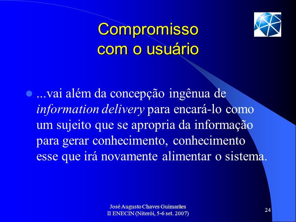 José Augusto Chaves Guimarães II ENECIN (Niterói, 5-6 set. 2007) 24 Compromisso com o usuário...vai além da concepção ingênua de information delivery