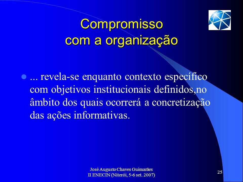 José Augusto Chaves Guimarães II ENECIN (Niterói, 5-6 set. 2007) 25 Compromisso com a organização... revela-se enquanto contexto específico com objeti