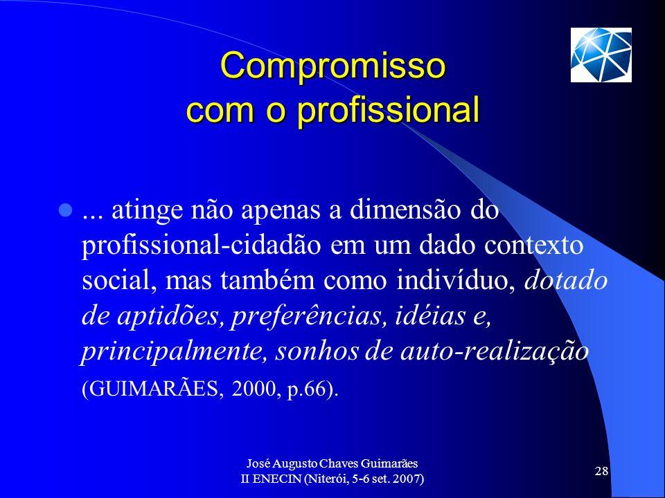 José Augusto Chaves Guimarães II ENECIN (Niterói, 5-6 set. 2007) 28 Compromisso com o profissional... atinge não apenas a dimensão do profissional-cid