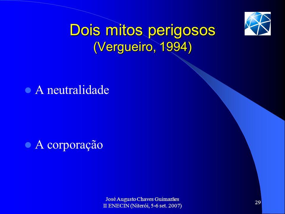 José Augusto Chaves Guimarães II ENECIN (Niterói, 5-6 set. 2007) 29 Dois mitos perigosos (Vergueiro, 1994) A neutralidade A corporação