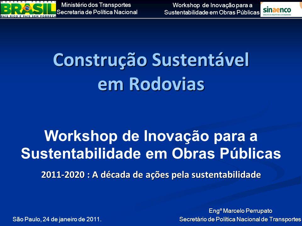 Ministério dos Transportes Secretaria de Política Nacional Workshop de Inovação para a Sustentabilidade em Obras Públicas Sinalizados 90 mil km de rodovias federais, entre 2003 e 2010 (até set/10) e implantados 2,7 mil equipamentos medidores de velocidade (20% em operação até jan/11).