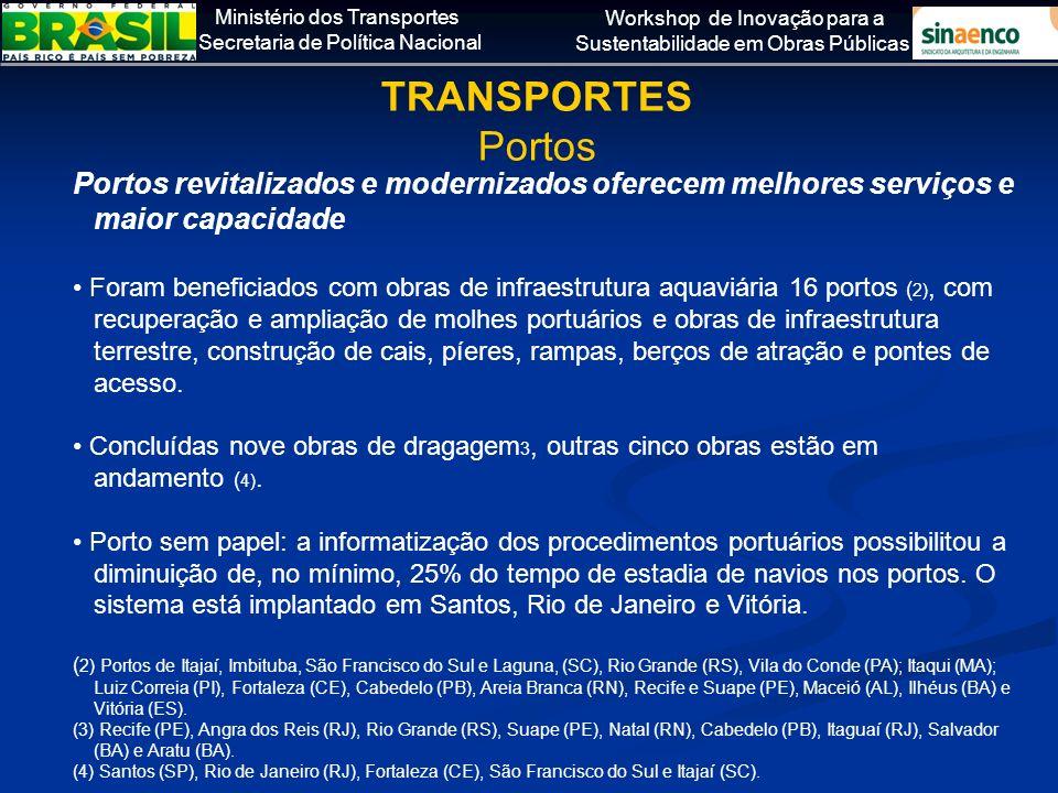Ministério dos Transportes Secretaria de Política Nacional Workshop de Inovação para a Sustentabilidade em Obras Públicas Portos revitalizados e moder