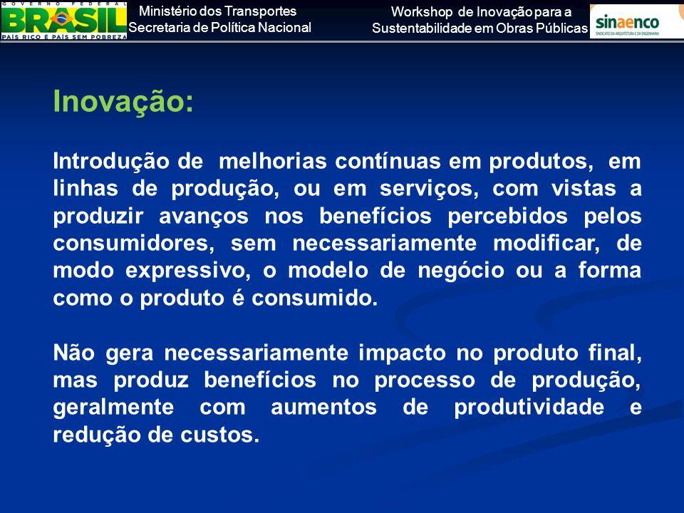 Ministério dos Transportes Secretaria de Política Nacional Workshop de Inovação para a Sustentabilidade em Obras Públicas Inovação: Introdução de melh