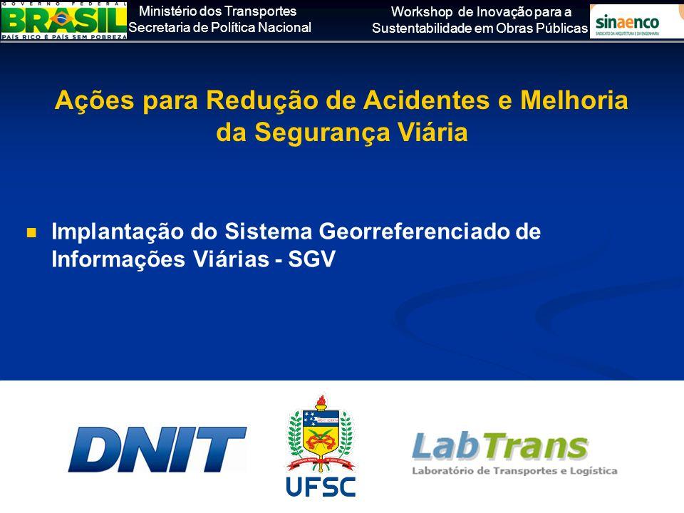 Ministério dos Transportes Secretaria de Política Nacional Workshop de Inovação para a Sustentabilidade em Obras Públicas Implantação do Sistema Georr