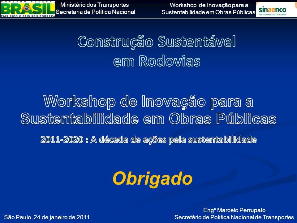 Ministério dos Transportes Secretaria de Política Nacional Workshop de Inovação para a Sustentabilidade em Obras Públicas São Paulo, 24 de janeiro de