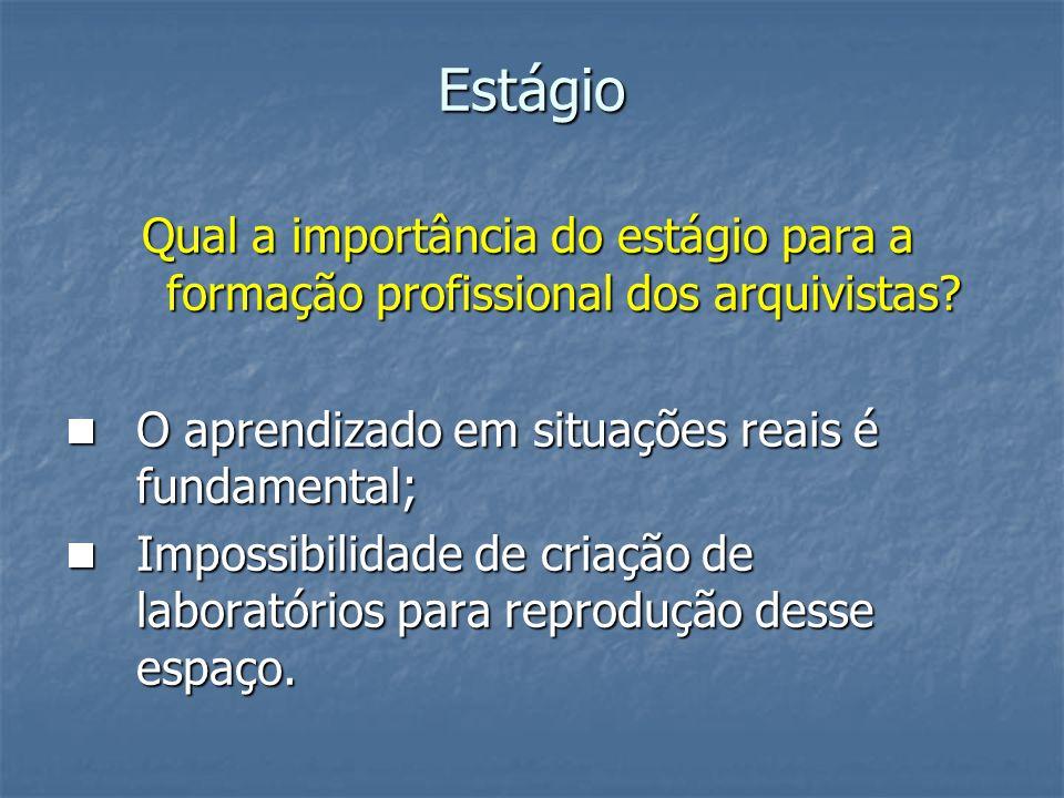 Estágio Qual a importância do estágio para a formação profissional dos arquivistas? O aprendizado em situações reais é fundamental; O aprendizado em s