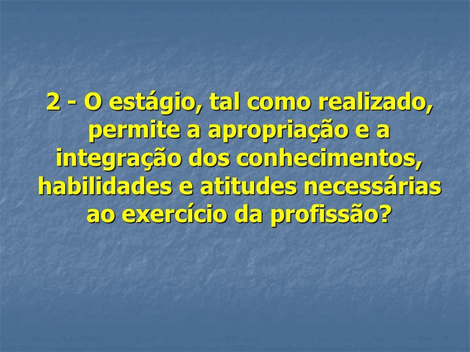 2 - O estágio, tal como realizado, permite a apropriação e a integração dos conhecimentos, habilidades e atitudes necessárias ao exercício da profissã