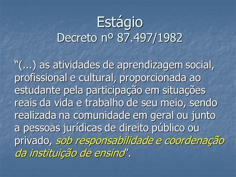 Estágio Decreto nº 87.497/1982 (...) as atividades de aprendizagem social, profissional e cultural, proporcionada ao estudante pela participação em si
