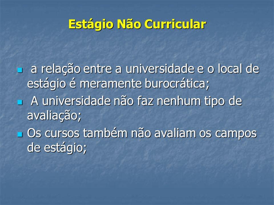 Estágio Não Curricular a relação entre a universidade e o local de estágio é meramente burocrática; a relação entre a universidade e o local de estági